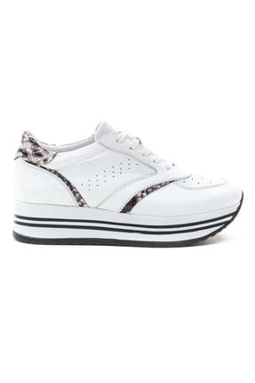 GRADA Beyaz Hakiki Deri Kalın Taban Sneaker Ayakkabı 1