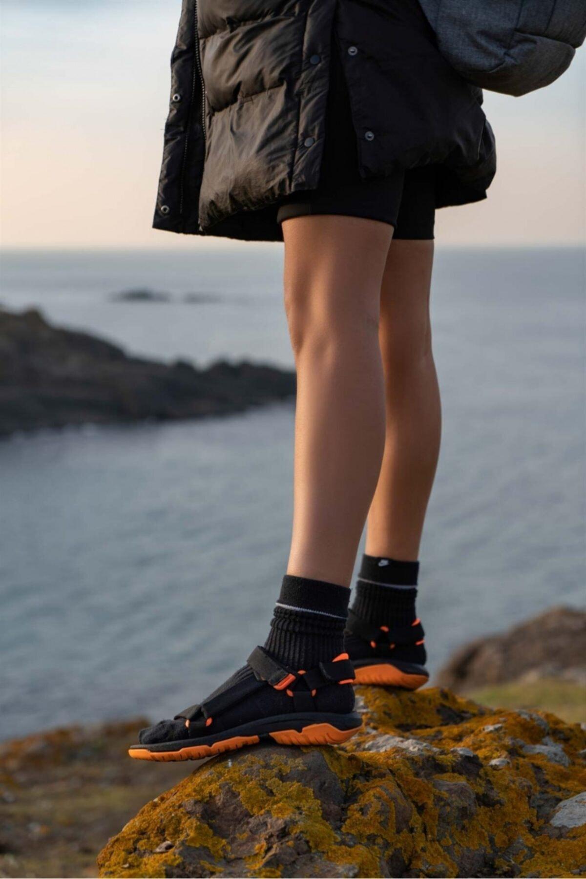 Kadın Siyah Turuncu Step Bayan Cırtlı Trekking Sandalet