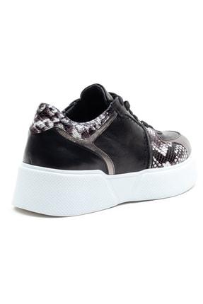 GRADA Kadın  Siyah Hakiki Deri Kalın Taban  Sneaker Ayakkabı 4