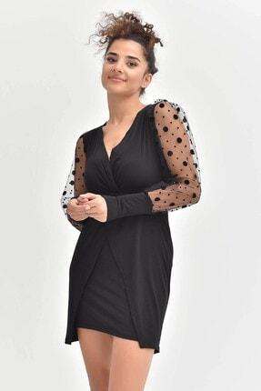 Kadın Siyah Kolları Tül Mini Elbise 4404MKSP
