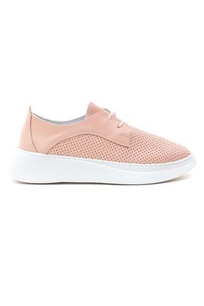 GRADA Kadın Pudra Hakiki Deri Yüksek Taban Sneaker 1