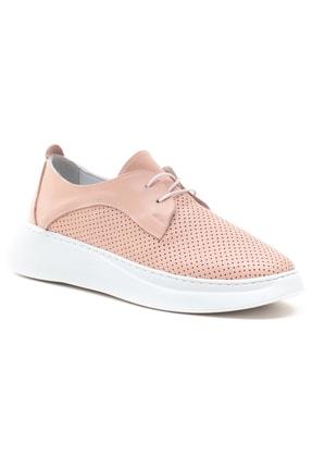 GRADA Kadın Pudra Hakiki Deri Yüksek Taban Sneaker 2