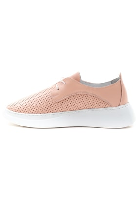 GRADA Kadın Pudra Hakiki Deri Yüksek Taban Sneaker 3