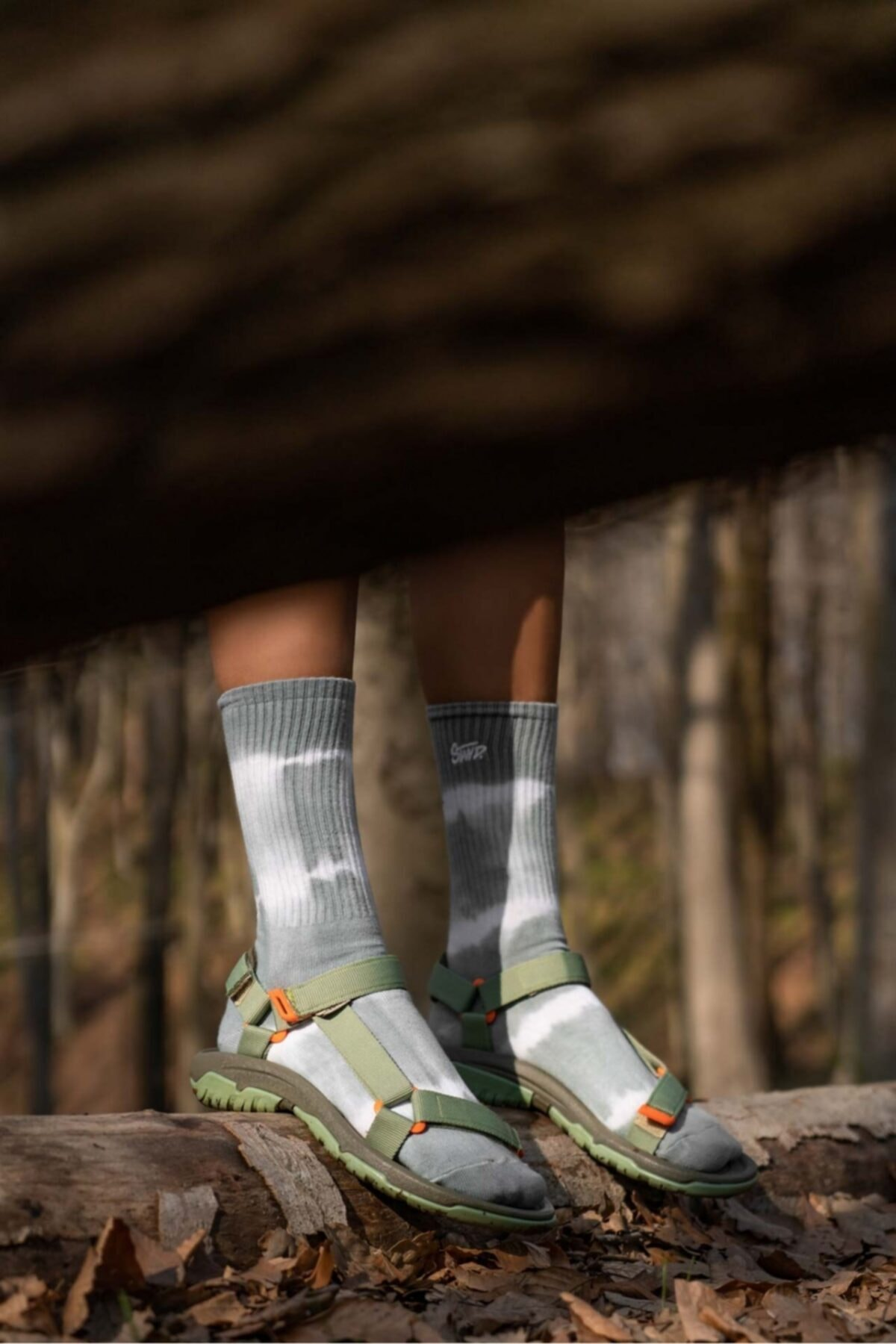 Haki Step Cırtlı Trekking Sandalet