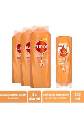 Elidor Saç Bakım Seti Anında Onarıcı Şampuan 650 ml X3 ve Serum Bakım Kremi 200 ml 0