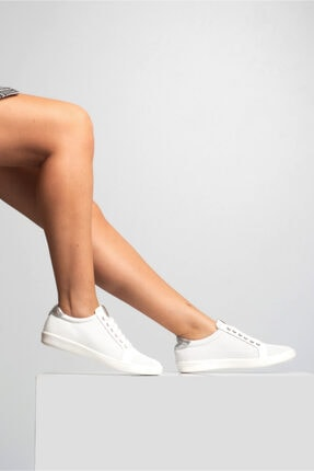 GRADA Kadın Beyaz Mikro Delikli Hakiki Deri Günlük Sneaker Ayakkabı 0