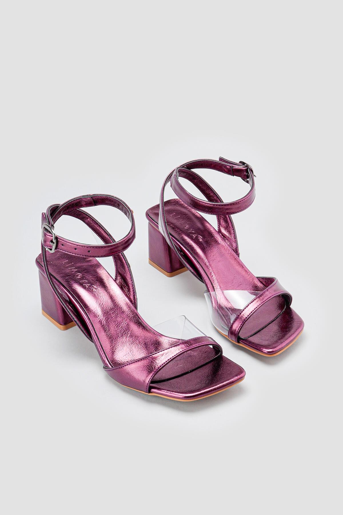 Limoya Kadın Olive Mor Şeffaf Detaylı Alçak Topuklu Sandalet
