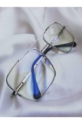 ONNObutik Gümüş Çerçeve Şeffaf Lens Unısex Güneş Gözlüğü 1