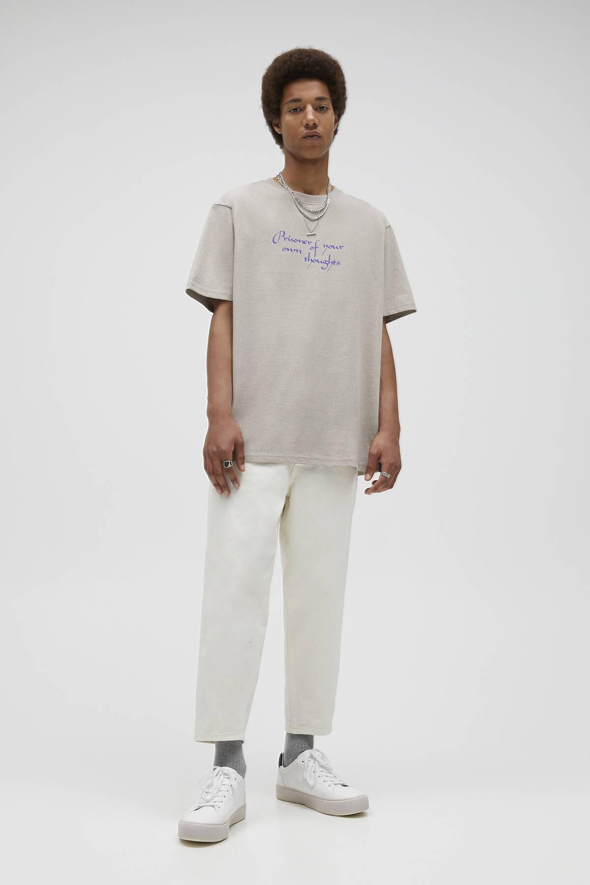 Pull & Bear Kavruk Menekşe Rengi Sloganlı T-Shirt 04241567 1