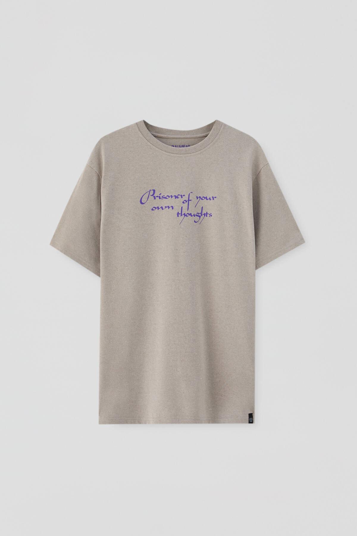 Pull & Bear Kavruk Menekşe Rengi Sloganlı T-Shirt 04241567 4