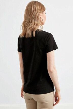 Journey Kadın Siyah Ön Baskı Detaylı Penye Bluz 2