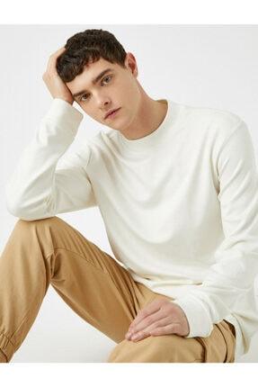 Koton Erkek Beyaz Sweatshirt 1KAM74082OK 0