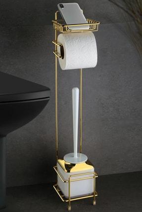 Okyanus Home Gold Wc Kağıtlık Ve Beyaz Fırçalık 0