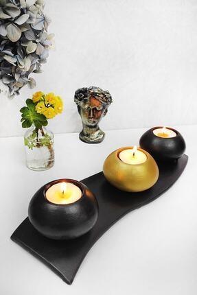 Esafe Home 4 Parça Siyah Tabaklı Siyah & Gold Beton Mumluk 1