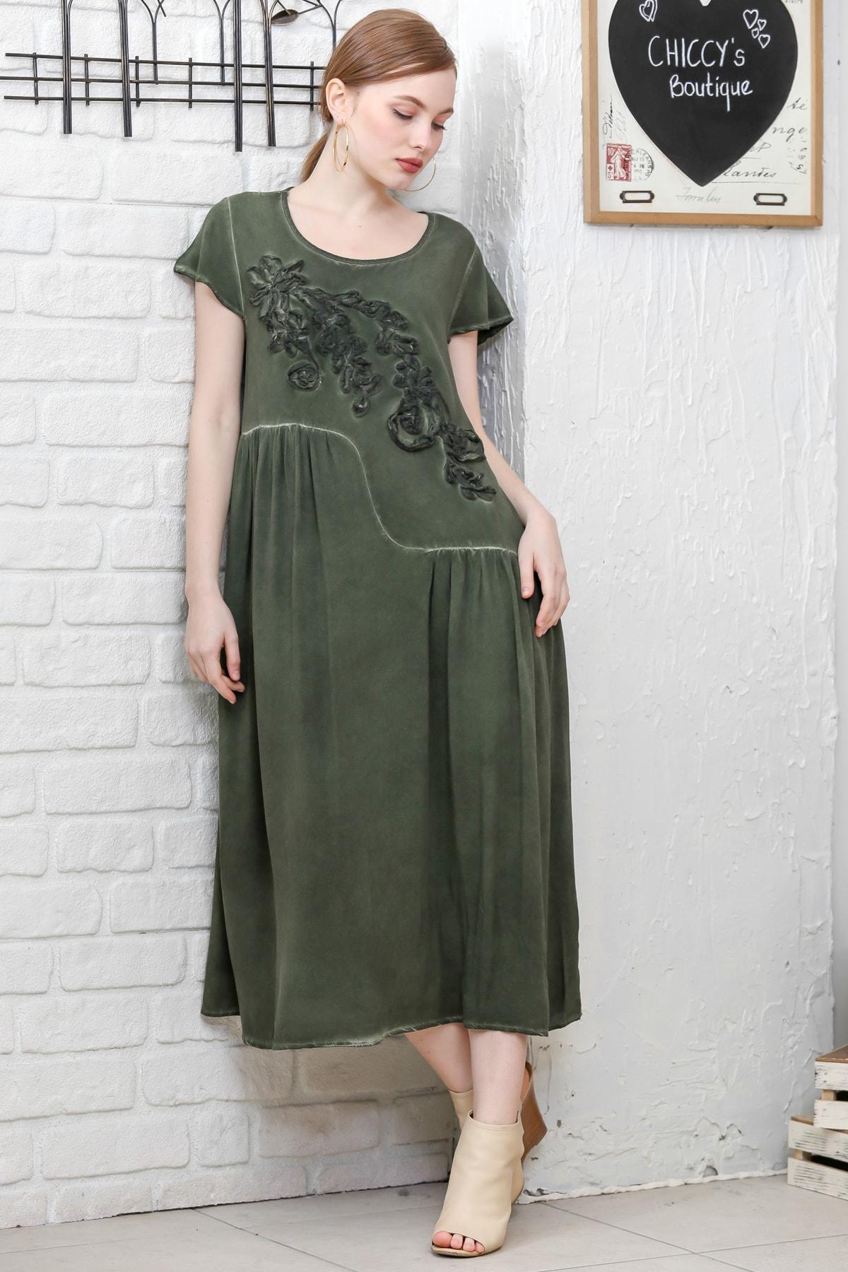 Chiccy Kadın Siyah Sıfır Yaka Süzene Çiçek Aplikeli Salaş Yıkamalı Elbise M10160000EL95154 0