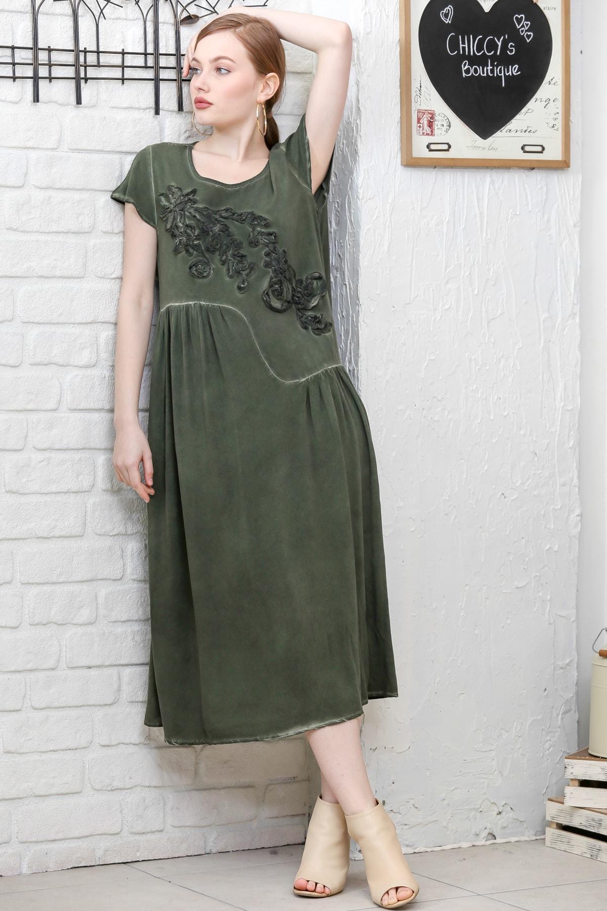 Chiccy Kadın Siyah Sıfır Yaka Süzene Çiçek Aplikeli Salaş Yıkamalı Elbise M10160000EL95154 1