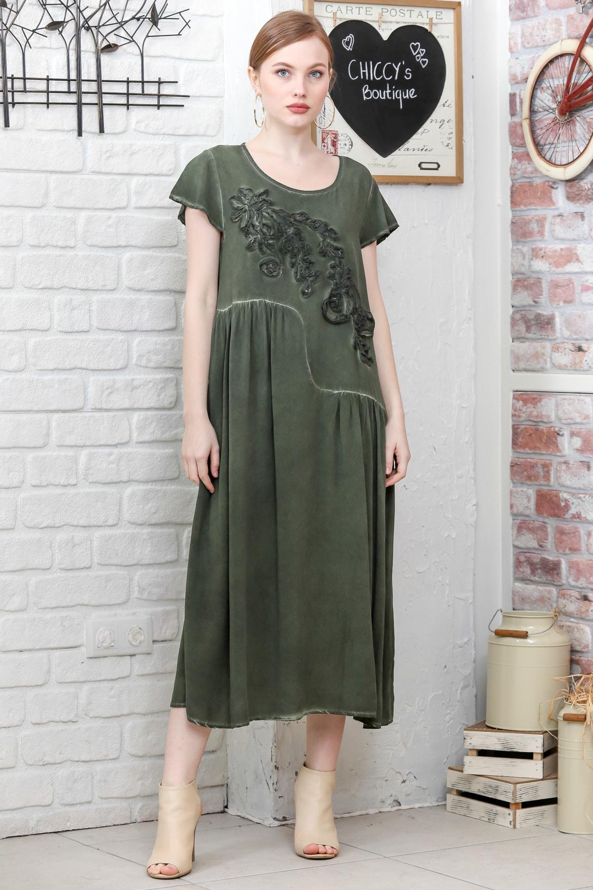 Chiccy Kadın Siyah Sıfır Yaka Süzene Çiçek Aplikeli Salaş Yıkamalı Elbise M10160000EL95154 2