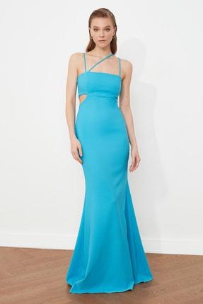 TRENDYOLMİLLA Mavi Askı Detaylı Abiye & Mezuniyet Elbisesi TPRSS21AE0052 0