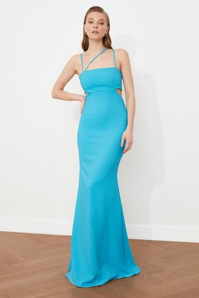 TRENDYOLMİLLA Mavi Askı Detaylı Abiye & Mezuniyet Elbisesi TPRSS21AE0052 1