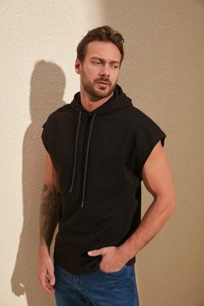TRENDYOL MAN Siyah Erkek Oversize Fit Kısa Kollu Kapüşonlu Sweatshirt TMNSS20SW0148 0
