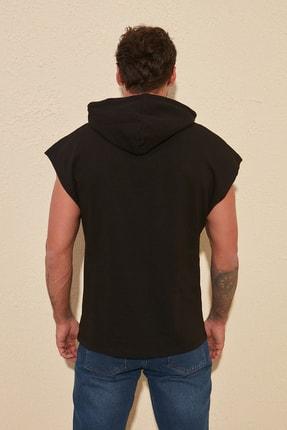 TRENDYOL MAN Siyah Erkek Oversize Fit Kısa Kollu Kapüşonlu Sweatshirt TMNSS20SW0148 3