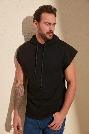 TRENDYOL MAN Siyah Erkek Oversize Fit Kısa Kollu Kapüşonlu Sweatshirt TMNSS20SW0148 1