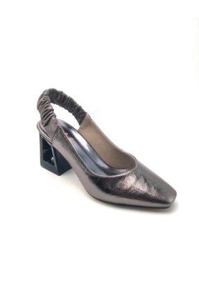 Kadın Topuklu Gri Ayakkabı HJLNT278