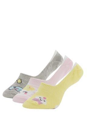 Defacto Kız Çocuk Desenli  Babet Çorap 3'lü 0