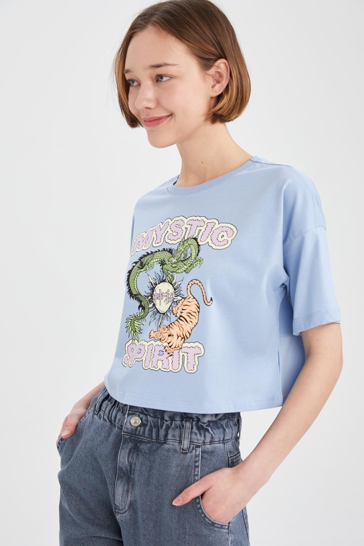 Coool Mystic Spirit Baskılı Relax Fit Crop Tişört