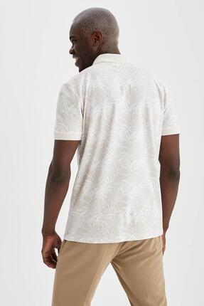 Defacto Slim Fit Polo Yaka Floral Desenli Kısa Kollu Tişört 3
