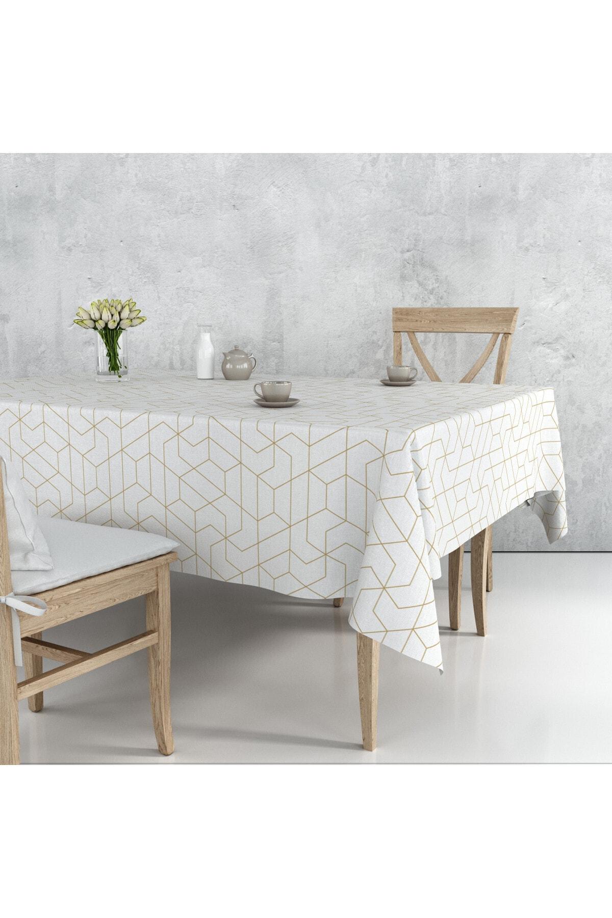Beyaz Ve Altın Çizgi Desenli Masa Örtüsü 140*180 cm