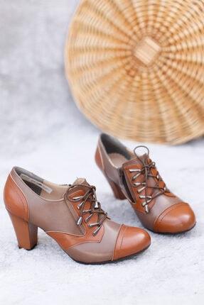 PUNTO Kadın Vizon Bağcıklı Topuklu Ayakkabı 2