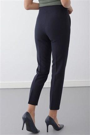 Journey Kadın Lacivert Pervaz Kemer Üstü Apolet Ve Toka Detaylı Dar Paça Pantolon 3
