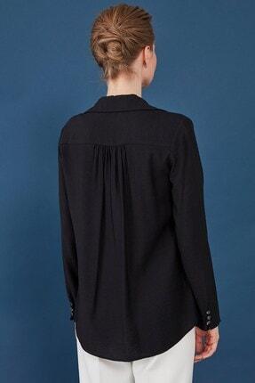 Journey Kadın Siyah Yaka Omuz Büzgü Detaylı Önden Düğmeli Bluz 2
