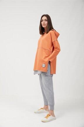 oia Kadın  W-0900 Oranj Pamuklu Tunik Pantolon Takım Eşofman Takım 3