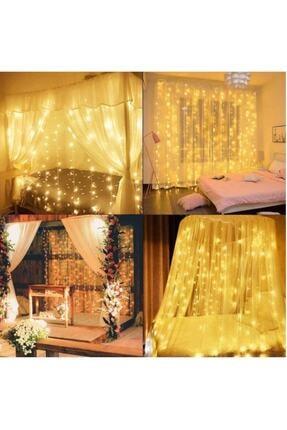 GÖBEKLİTEPE TİCARET Alitech 2,5x2,5 Günışığı Sarı Renk Prizli Perde Led Işık Dekoratif Saçak Led 3