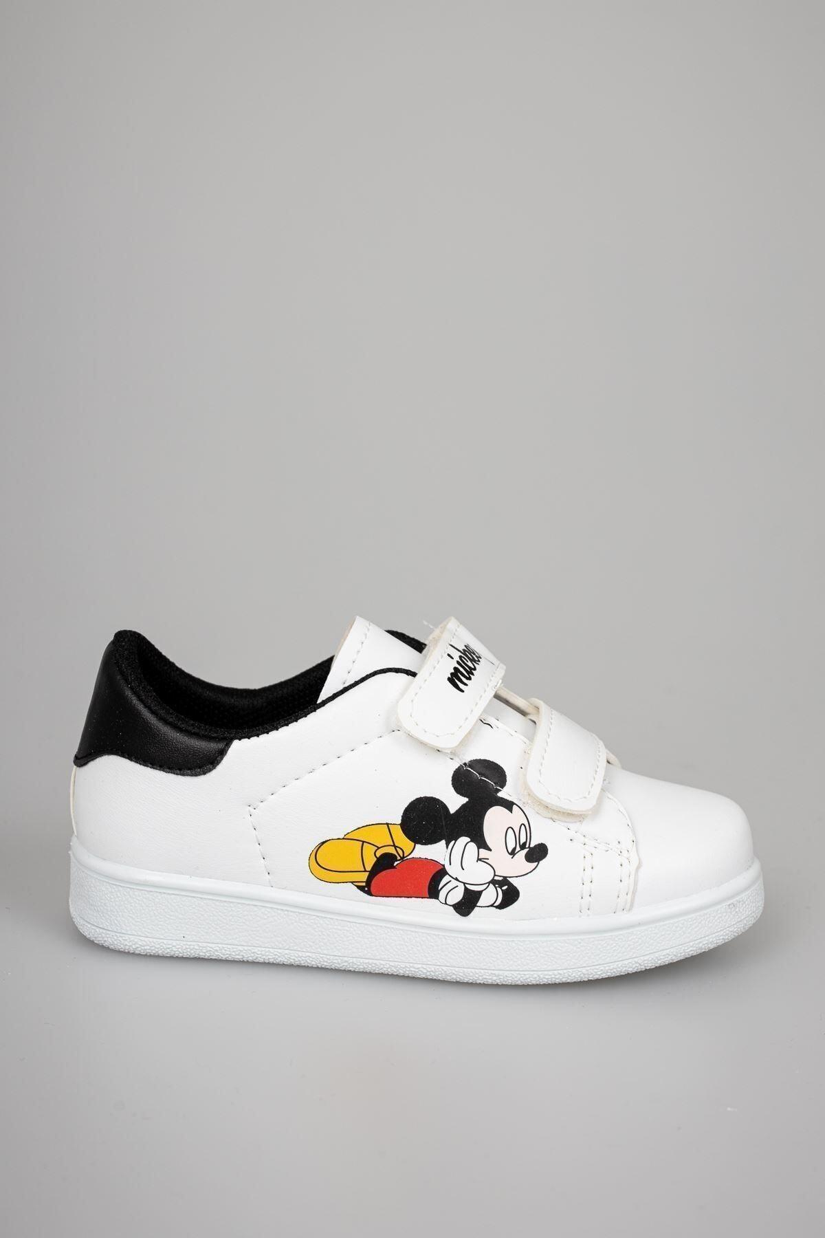 Unısex Çocuk Beyaz Cırtlı Günlük Spor Ayakkabı