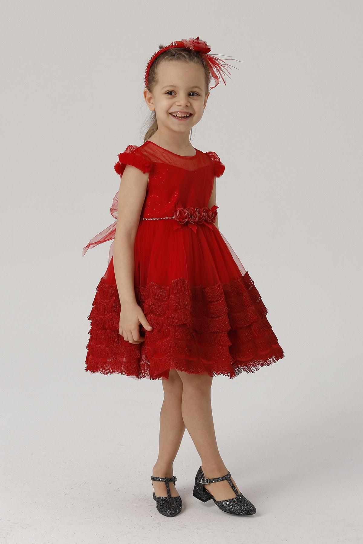 Kız Çocuk Püskül Detaylı Taçlı Abiye Elbise