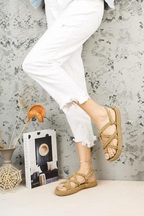 meyra'nın ayakkabıları Halat Sandalet Altın 3