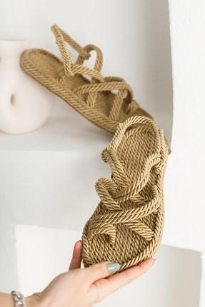 meyra'nın ayakkabıları Halat Sandalet Altın 4
