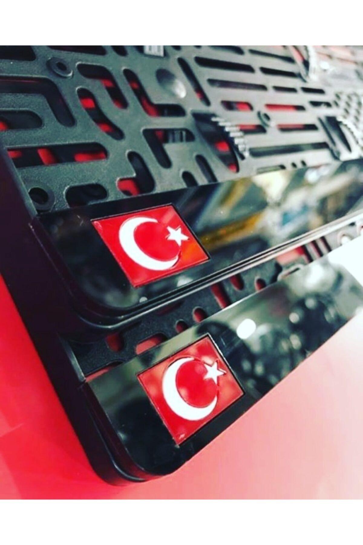 2 Adet Türk Bayraklı Araç Logo Isim Lazer Kesim1 Takmatik Pleksi Plakalık Takım