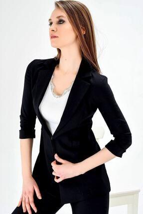 Jument Kadın Normal Bel Cepli Bilek Boy Ofis Likralı Kumaş Pantolon-siyah 0
