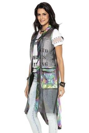 Cipo&Baxx Kadın Gümüş Renk Transparan Detaylı Uzun Yelek 1