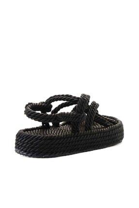 Bambi Siyah Kadın Hasır Sandalet K05787020476 3