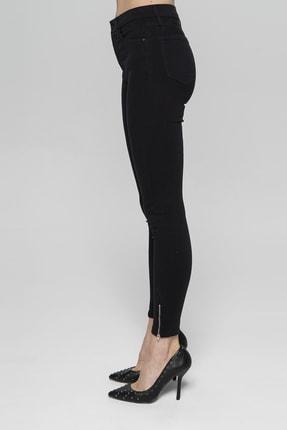 CROSS JEANS Judy Siyah Yüksek Bel Paçası Fermuarlı Skinny Fit Jean Pantolon 3