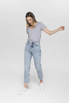 CROSS JEANS Elıza Cropped Açık Mavi Paçası Kesikli Straight Cropped Fit Jean Pantolon 0