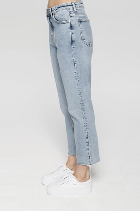 CROSS JEANS Elıza Cropped Açık Mavi Paçası Kesikli Straight Cropped Fit Jean Pantolon 2