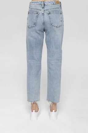 CROSS JEANS Elıza Cropped Açık Mavi Paçası Kesikli Straight Cropped Fit Jean Pantolon 3