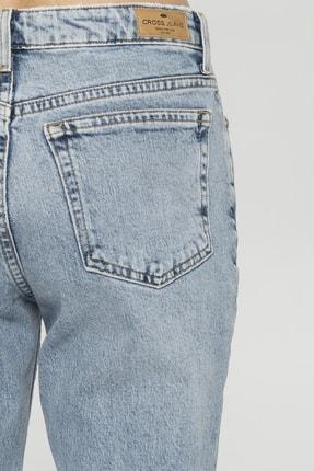 CROSS JEANS Elıza Cropped Açık Mavi Paçası Kesikli Straight Cropped Fit Jean Pantolon 4