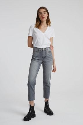 CROSS JEANS Elıza Cropped Gri Paçası Kesikli Straight Cropped Fit Jean Pantolon 0